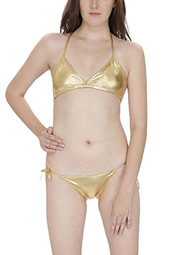 Secret Wish Womens Gold PU Leather Bra & Panty (G-String) Set  available at amazon for Rs.299