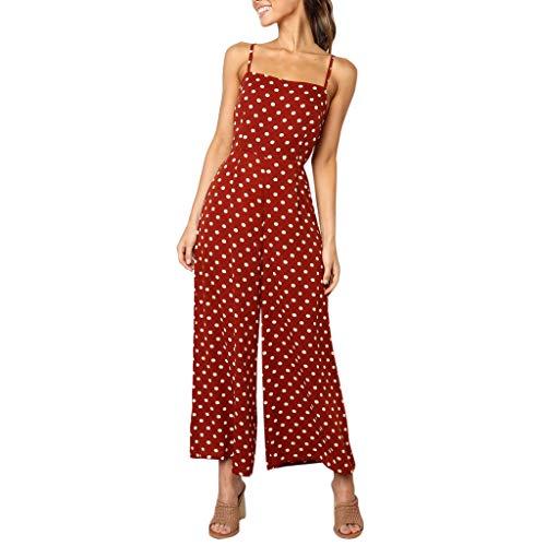 HCFKJ Mono De Mujer Sexy PantalóN Ancho De Fiesta para Mujer, PantalóN Largo, Sin Espalda,Traje De Tiras Estampado De Lunares