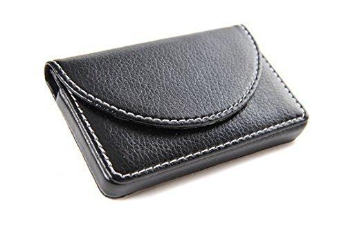 KINGFOM™ Visitenkarten-Etui aus Leder mit magnetischem Verschluss (Schwarz) (Visitenkarten-etui Männer Für)