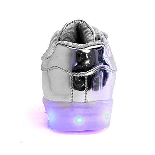 Wealsex Baskets Mode PU Cuir Vernis Lacet Scratch LED Lumière Clignotant 7 couleurs USB Rechargeable Enfant Unisexe Garçon Fille Argent