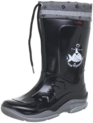 Capt'n Sharky 130021, Jungen Halbschaft Gummistiefel, Schwarz (Schwarz/Silber), 20 EU