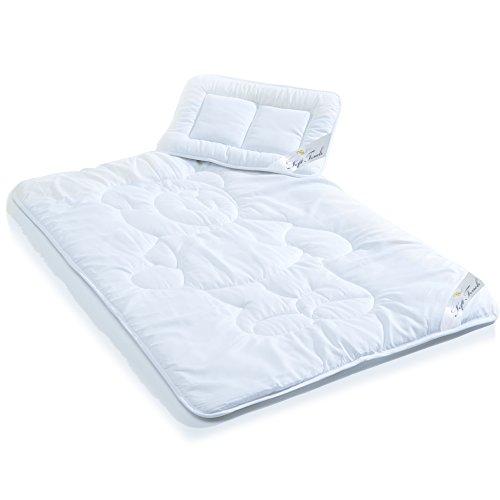 Kinder Bettdecke / Ganzjahresdecke, 100 x 135 cm Mikrofaser Baby-Steppdecke im Set mit 1x Kopfkissen 40 x 60 cm weiß aqua-textil Soft Touch Kids Decke 0011221