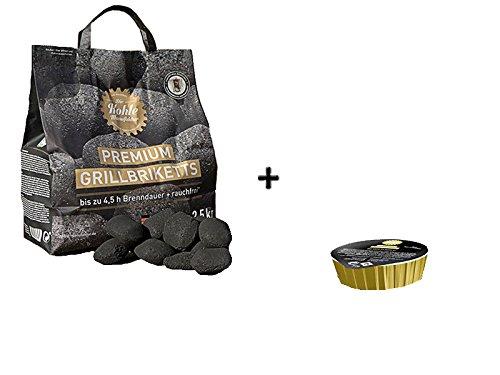 Paul Set: 2,5kg Carbone mattonelle di Manufaktur Premium barbecue carbonella con 50G di Gel combustibile
