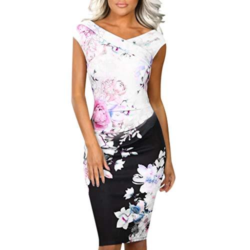 KUKICAT Damen Armellos Spitzenkleid Ballkleid Retro Rockabilly V-Ausschnitt Jahre mit Blumenrock Cocktailkleid Kleider