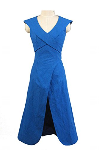 Fuman Game of Thrones Daenerys Targaryen Dress Kleid Blau Cosplay Kostüm M (Khaleesi Und Jon Snow Kostüm)