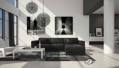 SalesFever Eck-Sofa mit Kunstleder Bezug schwarz 265x185 cm L-Form | Maferra-L | Sofa-Garnitur mit Kunstleder Recamiere...
