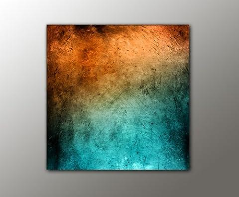 100x100 cm !!! - türkis orange + (Vintage_Style_13-100x100cm) abstraktes Bild knallige Farben RIESEN-FORMAT Bilder auf Leinwand und Keilrahmen +++ Deko für ihr Wohnzimmer, Schlafzimmer, Büro + XXL BILDER FOTODRUCKE KUNSTDRUCK WANDBILDER AUSWAHL IN UNSEREM BILDERSHOP +++ Trendmotive für alle Wohnbereiche in vielen verschiedene Größen, mit kreativen Bildmotiven verleihen Sie Ihrem Wohnraum eine persönliche Note, kunstvolle Trendmotive passend zu aktuellen Möbeltrends, Bei uns finden Sie für jede Wand das passende Kunstwerk