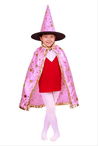 Koreanische Halloween Kostüm - KOWSXFTGB Halloween Kinder Cape Koreanische Version Cape Hexe Kostüm Kostüm Sechs-Sterne-Mantel Magier Kürbis Mantel 80 X 110Cm D