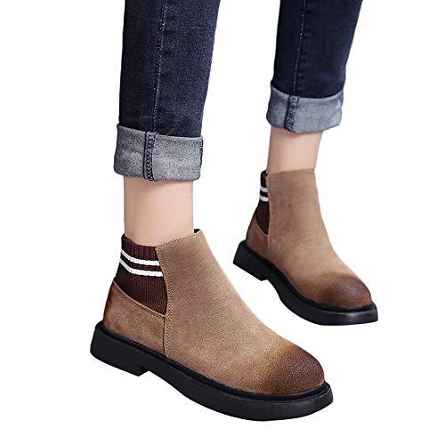 Stiefel Damen Boots Frauen Flache Booties Slip-On Freizeitschuhe Wildleder Stiefel Runde Toe Schuhe Winterstiefel High Heels Stiefel ABsoar