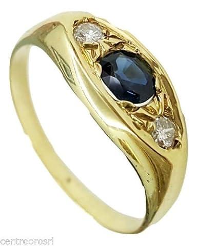 Bague Homme en Or 18carats avec saphir et diamants–18K Gold Men Ring with Sapphire, Diamond