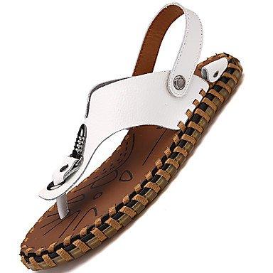 Herren Sandalen Komfort Mary Jane hellen Sohlen aus Gummi Frühling Sommer Outdoor Casual Schuhe vor niedrigem Absatz Weiß Schwarz Dunkelbraun Flach White
