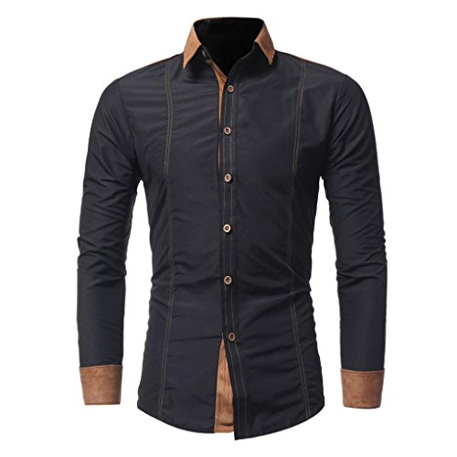 ZEZKT-Herren Herren Hemd mit Kontrasten Freizeit Slim Fit Langarm Shirts Business Bügelleicht (L, Schwarz)