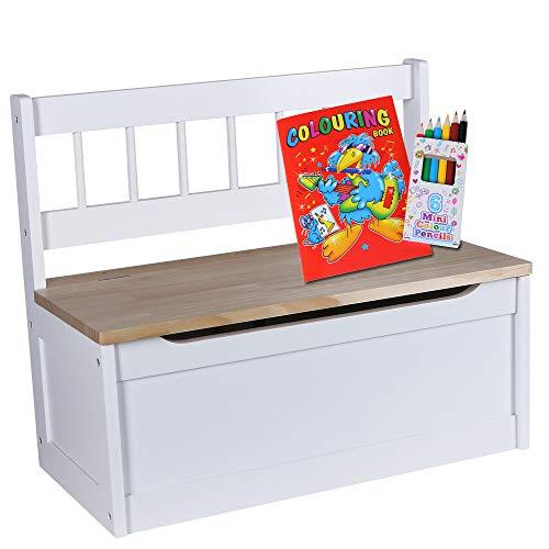Kinder Truhenbank   Sitzbank Höhe 50 cm   Kinderzimmer Bank + Aufbewahrungsfach   Sitzgelegenheit creme weiß   Bank MDF Nadelholz   Kindersitzbank + Malbuch und Farbstifte