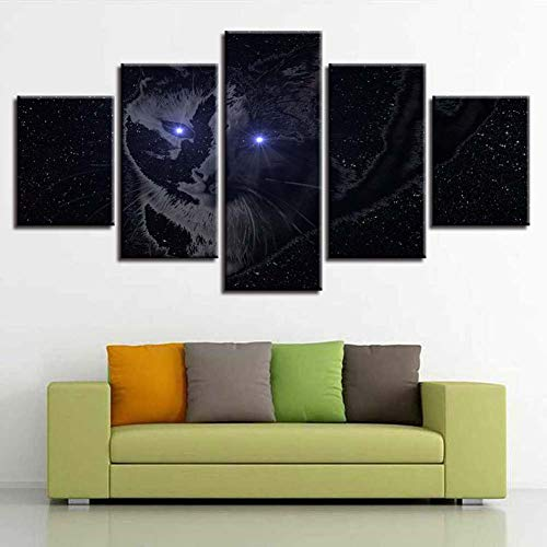 hd impronte poster modulare tela foto 5 pezzi degli occhi luminosi dipinti arredamento moderno gatto muro del salotto artistico