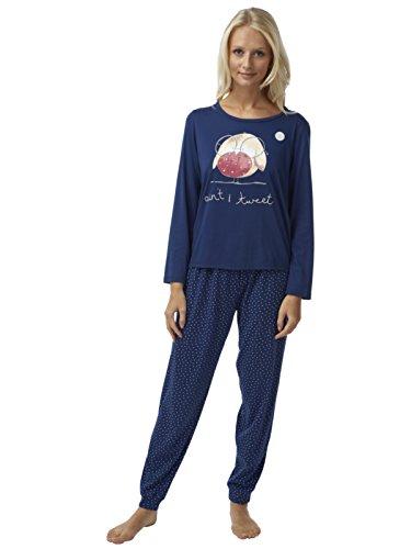 Frauen Robin Drucken Jersey Pyjama Set Placement Print Marine 46/48 (Drucken Marine-blau-jersey)