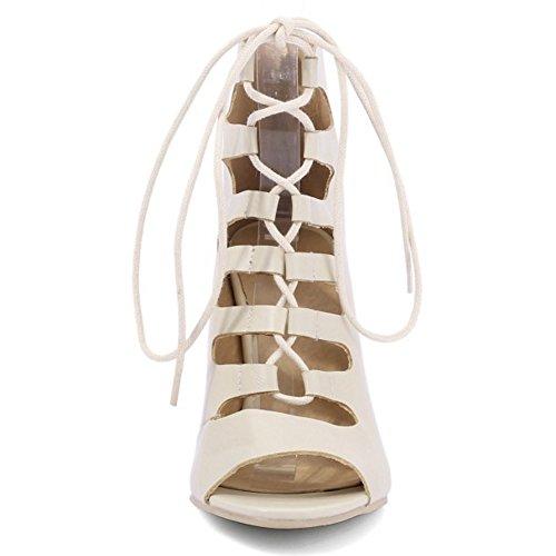 TAOFFEN Femmes Sandales Mode Peep Toe Aiguille Talons Hauts Gladiateur Chaussures Beige