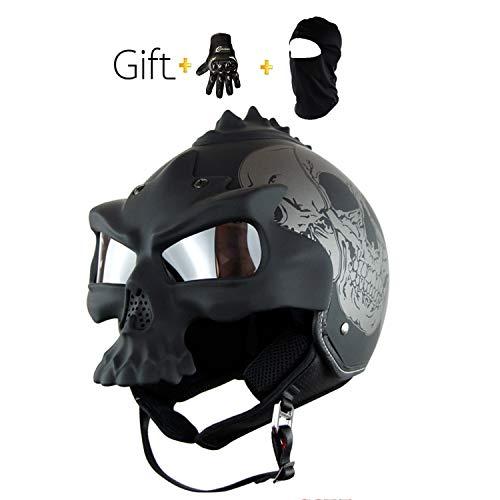 AA100 Harley Casco Cranio per Adulti Casco da Motociclista Maschera da Diavolo Maschera DOT permesso (M, L, XL),XL