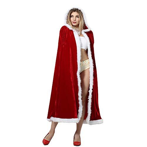 BaronHong Weihnachten Mrs. Santa Claus Umhang mit Kapuze Cosplay Cappa Cape (rot, L) (Mrs Claus Kostüm Mit Kapuze)
