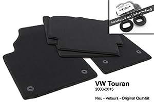 Lot de 4 tapis de sol pour Volkswagen Touran (tous les modèles) Qualité d'origine Tapis de voiture en velours Noir