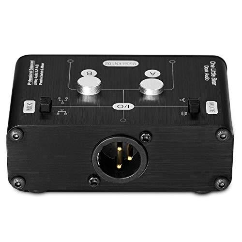 Video Source Selector Switch Box (Mini 2 Way HiFi Stereo Audio XLR A/B Passive Switcher Box & Mixer Sound Splitter (2-IN-1-OUT))