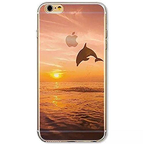 Custodia per iPhone 6/6S,Gray Plaid Design Trasparente Chiaro Creative 3D Case Cover , Ultra-sottile marche popolari TPU Gel Silicone Bumper Protettivo Skin Custodia Per iPhone 6/6S (4.7 inch) - onde delfino
