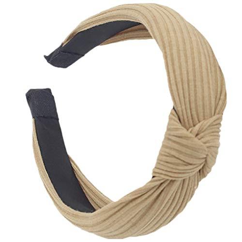 Dorical Haarband Yoga Headband Hairband Damen Stoff Haarreif mit Schleife-Vintage-Wunderschön Stirnband,Haarschmuck Haarreif mit Schleife-Vintage-Wunderschön Stirnband (Khaki) (Hippie Make Up Und Haare)