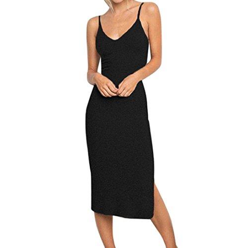 ESAILQ Damen Elegant Spitze Rundhalsausschnitt Ärmel Mesh-A-Linie Kleid(XL,Schwarz) -