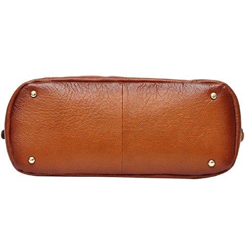 Hermiona Womens Vintage Soft Leather Tote Shoulder Bag Red brown