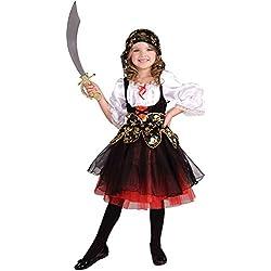 Disfraz de pirata de piezas para niñas - Disfraz de pirata - Black, white, red - Talla 128 (5-7 años)