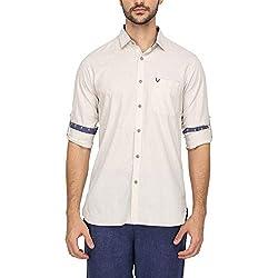 Allen Solly Mens Slim Collar Solid Shirt (203574781_Beige_44)