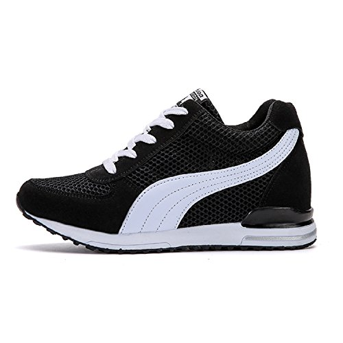 differently bafe9 64f40 LILY999 Sneakers Zeppa Interna Donna Scarpe da Ginnastica Basse Sportive  Fitness Tacco Zeppa 7 cm Nero