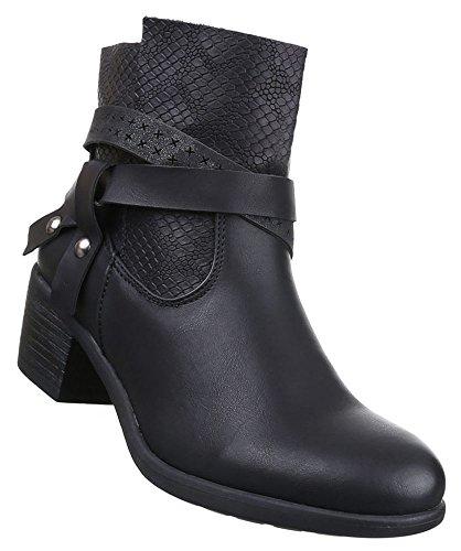 Damen Stiefeletten Schuhe Boots Schwarz 36 37 38 39 40 41 Schwarz