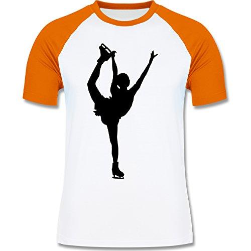 Wintersport - Eiskunstläuferin Einzellaufen - zweifarbiges Baseballshirt für Männer Weiß/Orange