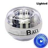 Hilai Palla da Polso LED Fitness giroscopio del Rinforzo del Polso della Forza di Potere Sfera e avambraccio Ginnico (Platinum White Light)