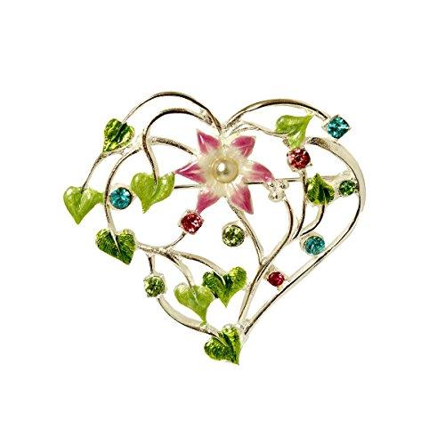 Brosche-Damen Herz Floral Emaille Kristalle Pastellfarben Anstecknadel Versilbert Filigran