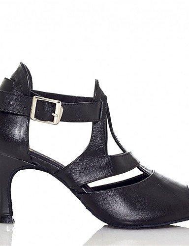 ShangYi Chaussures de danse(Noir) -Personnalisables-Talon Personnalisé-Cuir / Similicuir-Latine / Jazz / Salsa / Samba / Chaussures de Swing Black