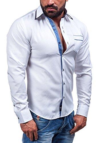 BOLF Langarm Herrenhemd Hemd Figurbetont Freizeit Classic Herren Hemd Fit 6902 Weiß