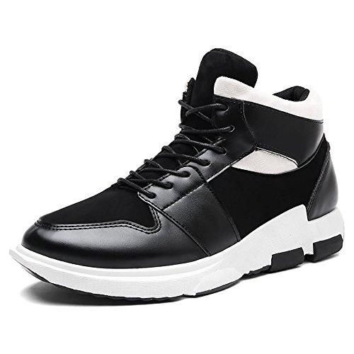 Sunny&baby scarpe da uomo trendy da uomo con tacco piatto e tacco alto resistente all'abrasione (color : nero, dimensione : 43 eu)