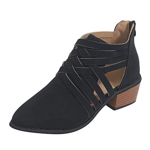 Faux Pelz-trim Bootie (Goosuny Damen Schuhe mit Keilabsatz Herbst Kurze Stiefel Sommerschuhe Knöchel Keilpumps Schuhe Pointed Solid Farbe Cross Strap mit Retro Boots Single Shoes Übergangsschuhe)