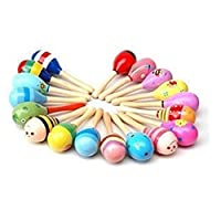 TOSSPER Baby Kids Sound Music Gift Toddler Rattle Shakers Musical Wooden Sand Hammer Maracas Toys New