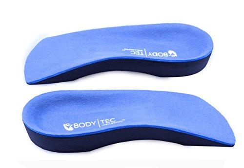 Orthopädische 3/4 Einlage, unterstützt bei schwachem Fußgewölbe, Senkfuß und Fersensporn, - blaue Oberseite/schwarze Sohle - Größe: 7-8.5 UK