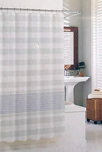 Sanctuary Textil Duschvorhang hellgrau horizontale Linien unterschiedlicher Breiten auf Weiß 100% Baumwolle Horizontale Linien