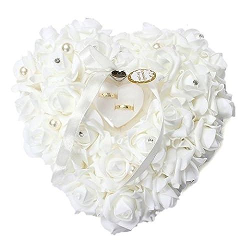 AOHANG Romantic Pearl Rose Wedding Favors Heart Shaped Gift Ring Box Pillow Cushion
