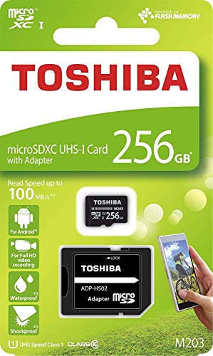 Toshiba M203 256GB Class 10 MicroSDXC 100MB Memory Card with Adapter (THN-M203K2560A2)