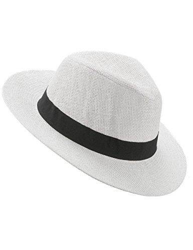 c5cdb377fbc9 Generique - Chapeau Panama Blanc avec Bande Noire Adulte