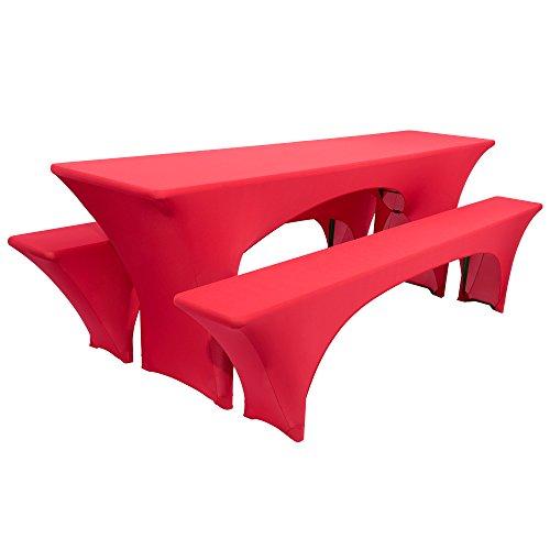 Beautissu Victoria elastische Biertischhusse 220x50 cm + 2 Bierbank-Hussen 3 TLG. Bierzeltgarnitur-Set - Rot & weitere Farben