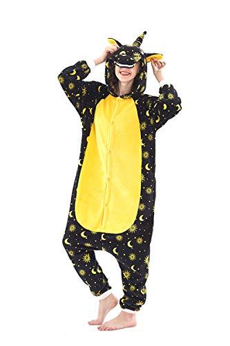 Cosplay pigiama animali unisex costume party halloween tuta costumi flanella sleepwear s m l xl (nero e giallo, s(148-160cm))