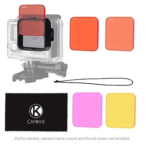 CamKix Objektivfilter-Set fürGoPro HERO 4 Black, Silver HERO+ HERO+ LCD, HERO and 3+- Verbessert die Farben bei verschiedenen Unterwasser-Videos und Fotografien - Beinhaltet 5 Filter für lebendige Farben, verbesserte Kontraste, Nachtsicht (Passt nur auf dem Standard-Gehäuse)Rahmen+5 Filter