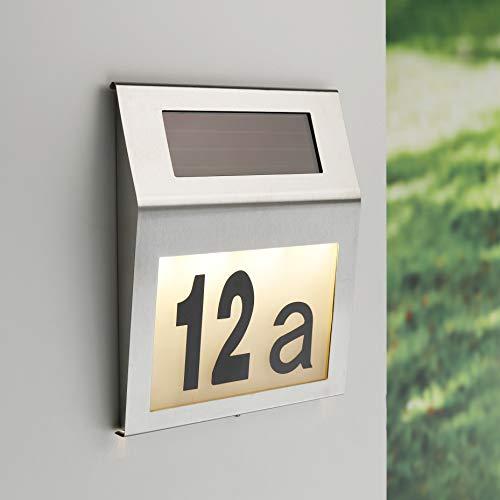Kamaca LED SOLAR Hausnummer wetterfeste Solar Hausnummernleuchte aus Edelstahl Wandleuchte mit 4 warm Weisse LED (LED Solar Hausnummer) -
