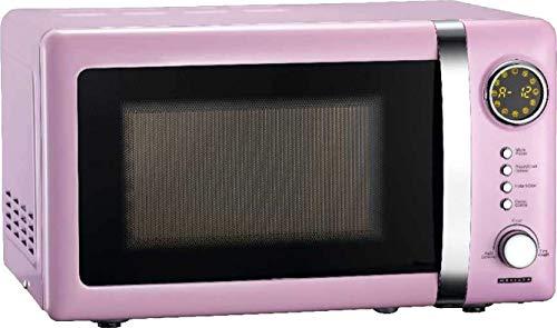 Melissa 16330112 Classico Mikrowelle • Mikrowellenofen • Retro-Design • Metall-Gehäuse • 20 Liter Garraum • 700 Watt Mikrowellenleistung • Timer • 5 Leistungsstufen • Pink, Rosa